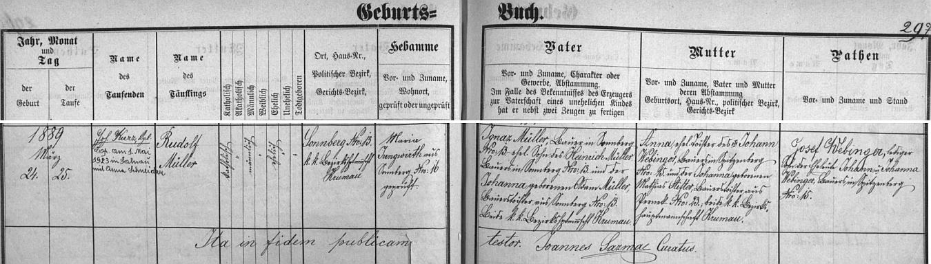 Záznam želnavské křestní matriky o jeho narození v Žumberku (dnes Slunečná) čp. 13 rolníku Ignazi Müllerovi (i jeho otec Heinrich Müller hospodařil se svou ženou Johannou, dcerou Adama Müllera rovněž z toho stavení) a jeho ženě Anně, dceři Johanna Webingera, rolníka z Hor (Spitzenberg) čp. 15 a jeho manželky Johanny, dcery Mathiase Stiftera zPerneku čp. 23  - dodatečný přípis je informací o svatbě Rudolfa Müllera dne 1. května roku 1923 v Želnavě s Annou Schneiderovou