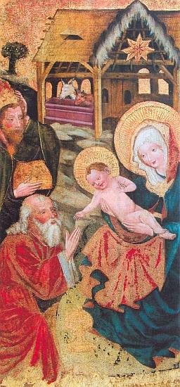 Výřez gotické deskové malby snámětem Klanění Tří králů, pocházející z prvé půle 15. století někde ze Želnavska