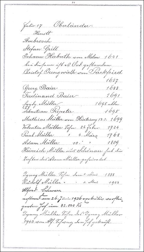 """... a stránka z této knihy s výčtem majitelů stavení ve Slunečné čp. 13, zvaného """"Oberländer"""", které 1. května 1923 při svatbě s Annou, roz. Schneiderovou, převzal od svého otce Ignaze Müllera"""