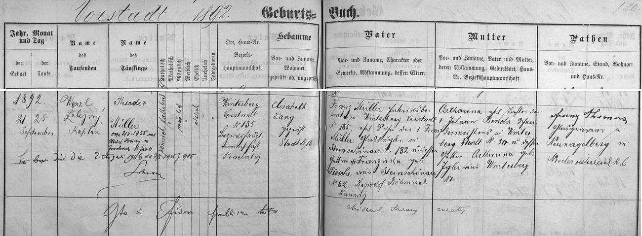 Záznam o jeho narození ve vimperské křestní matrice s pozdějším přípisem o jeho svatbě 2. května roku 1925 v tyrolském Innsbrucku