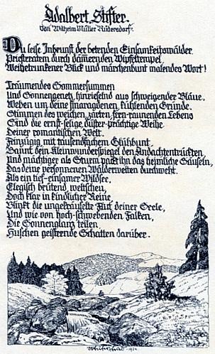 Jeho báseň o Stifterovi jako příloha knihy Hanse Hajeka o něm