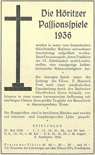 Leták a inzerát k Hořickým pašijovým hrám 1936 v režii a výpravě Multererově