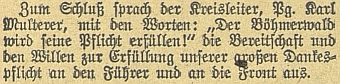 """Při návštěvě """"gauleitera"""" Eigrubera na Šumavě v roce 1943 jako """"krajskývůdce"""" nemohl chybět"""