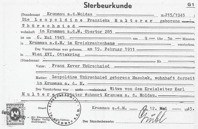 Úřední záznam o příčině smrti Multererovy manželky Leopoldine, roz. Thürschmiedové