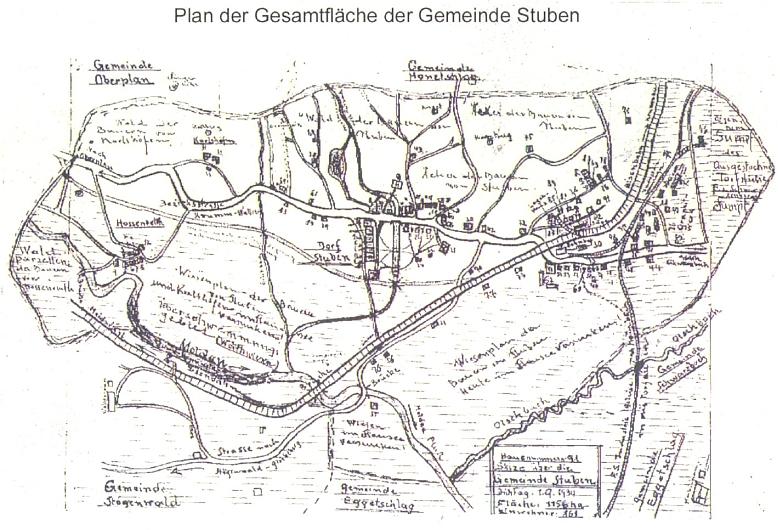 Katastr obce Hůrka na jeho kresbě