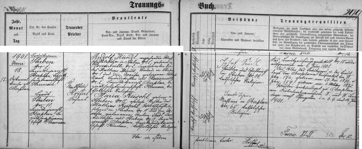 Záznam hornoplánské oddací matriky o zdejší svatbě jeho rodičů18. června roku 1901, více než dva roky po jeho narození 11. ledna 1899