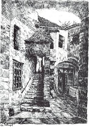 """""""Alter Stadthof"""", tj. starý prachatický městský dvůr, na jeho kresbě"""