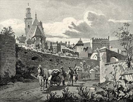 Prachatice na ilustraci Karla Liebschera z konce 19. století pro Ottovu edici Čechy - Dolní brána, kde se o 100 let později uskutečnila jeho výstava, je vidět vpravo nad kamennou brankou