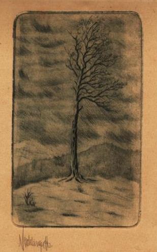 Grafika s názvem Zimní bouře na Šumavě s jeho podpisem