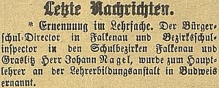 Zpráva o jeho jmenování do čela německého učitelského ústavu v Českých Budějovicích