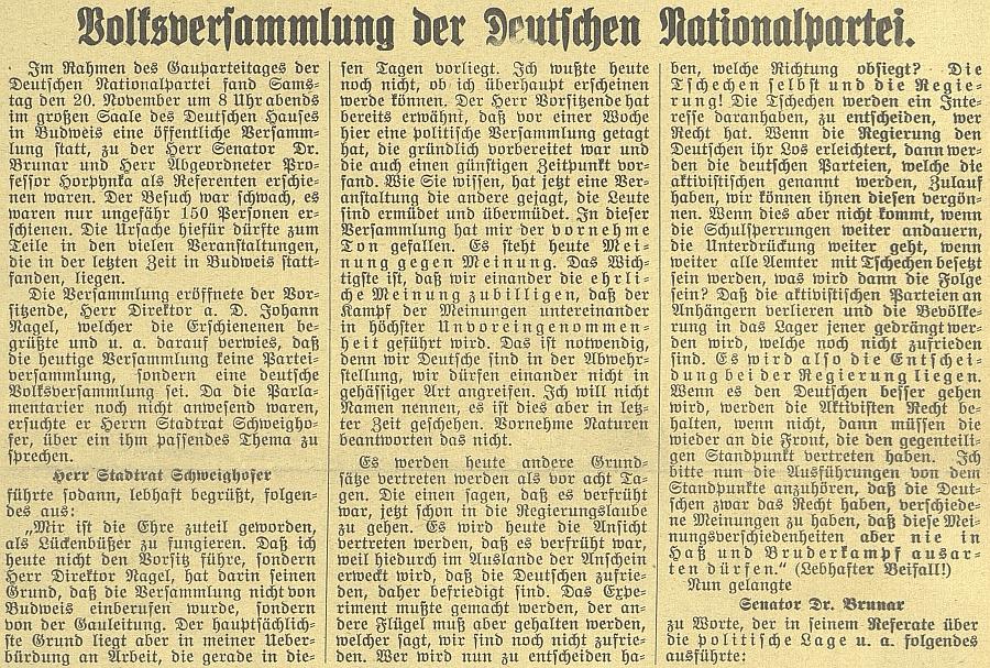"""Úvodní část článku o """"lidovém shromáždění"""" v českobudějovickém Německém domě"""