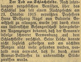 Až po válce byla potvrzena smrt jeho syna Hanse Wolfganga roku 1915 na italské frontě
