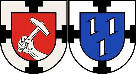 """Dva znaky města Bottrop, kde pravděpodobně žil na sklonku života, které mají společný jen znak Německých rytířů: ten vlevo z let 1925-1978 a vpravo od roku 1978 se třemi """"vlčími udicemi"""" (středověká zbraň, známá i pod označením """"nášlapný hrot"""", """"nášlapný ježek"""", """"vraní noha"""" či """"kotvice"""")"""