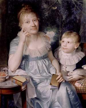 Christiane Benedikte Naubertová na podobizně z roku 1806, kde ji malíř Daniel Caffe zachytil s jejím malým synovcem