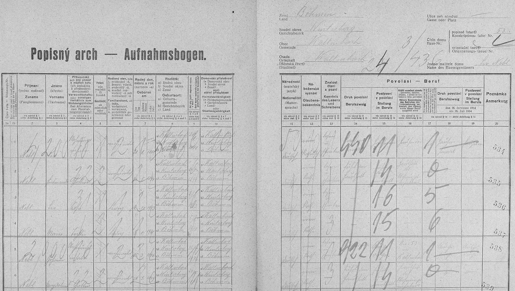 Arch sčítání lidu z roku 1921 pro stavení čp. 53 v Kaltenbachu (v dnešních Nových Hutích má to číslo popisné penzion Tetřívek), kde žil, tehdy devítiletý, se svou tehdy tříletou sestrou Marií (*5. ledna 1918), rodiči a prarodiči z otcovy strany (byli to otec Leo /*28. ledna 1888/, matka Ferdinanda /*24. května 1894/, děd Johann /*25. března 1846/ a babička Magdalena /*15. února 1849/, podle tohoto dokumentu bez výjimky zdejší rodáci)