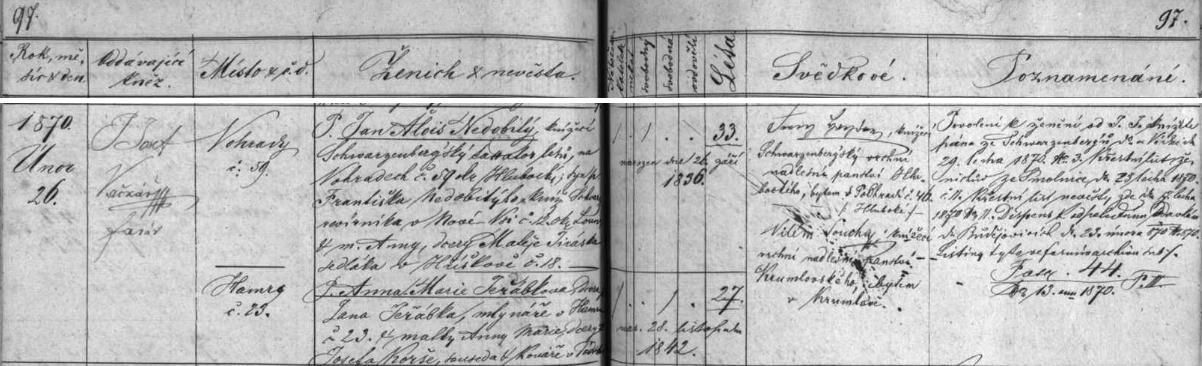 Český záznam o jeho svatbě v oddací matrice farní obce Hluboká nad Vltavou