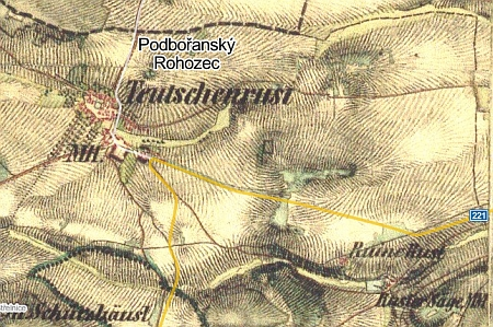 Okolí jeho rodiště na staré a novější mapě - Podbořanský Rohozec nese na té staré jméno Teutschenrust
