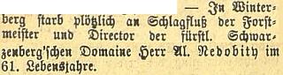 Zpráva o jeho úmrtí v českobudějovickém německém listě