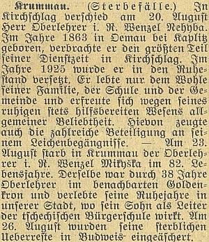 Nekrolog jeho otce na stránkách českobudějovického německéholistu