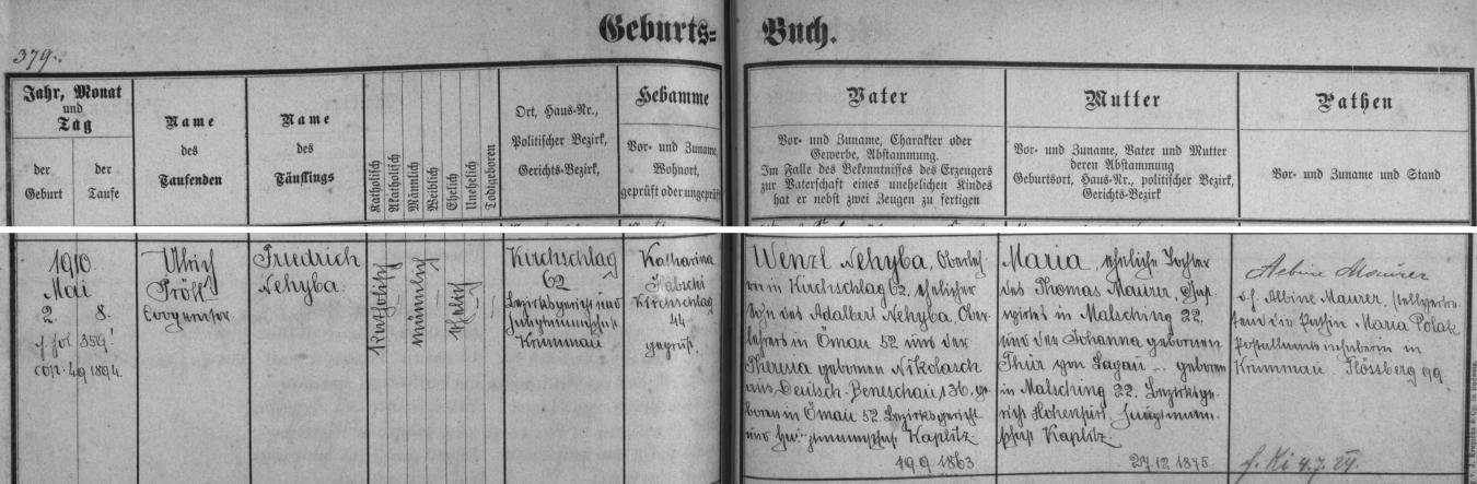 Záznam o jeho narození v křestní matrice farní obce Světlík