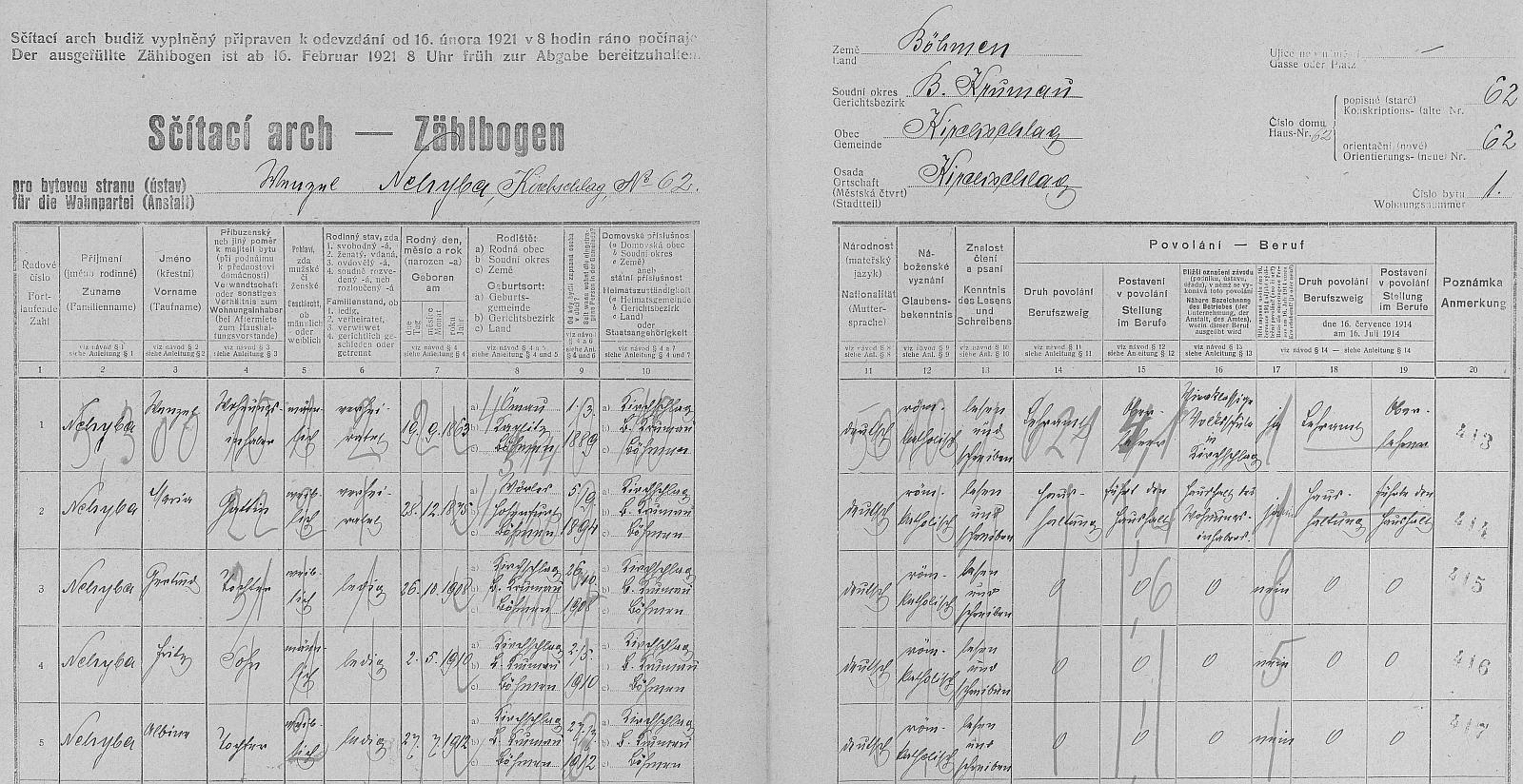 Arch sčítání lidu z roku 1921 pro dům čp. 62 ve Světlíku i s ním