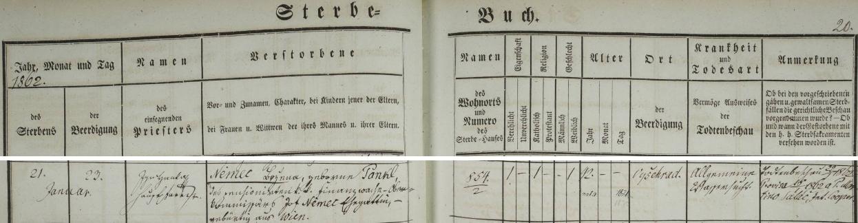 Německy psaný záznam o jejím úmrtí a pohřbu