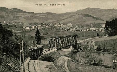 """Seidelova """"železniční"""" pohlednice z Vyššího Brodu"""