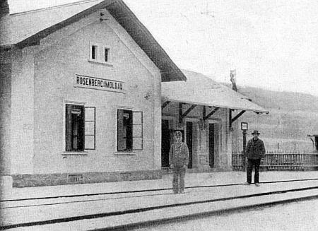 Nádraží v Rožmberku nad Vltavou na staré pohlednici