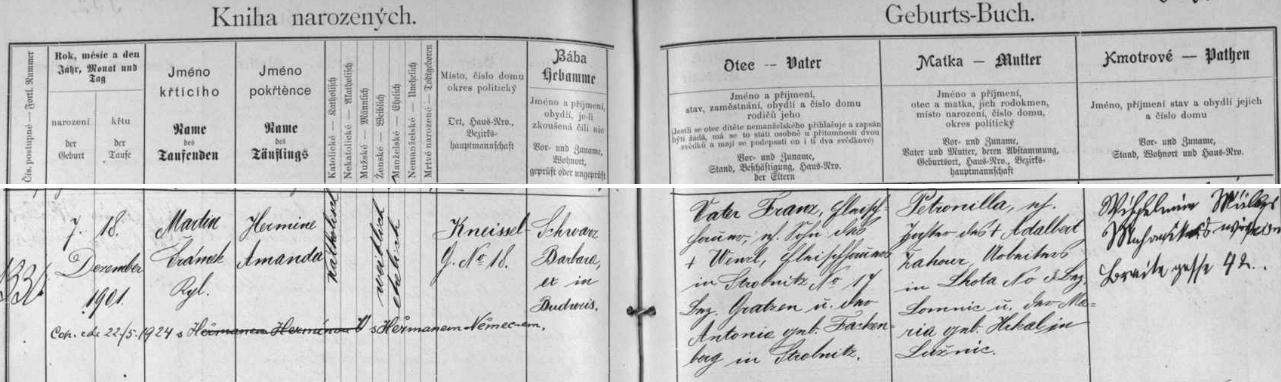 Německý záznam o narození jeho matky v českobudějovické matrice