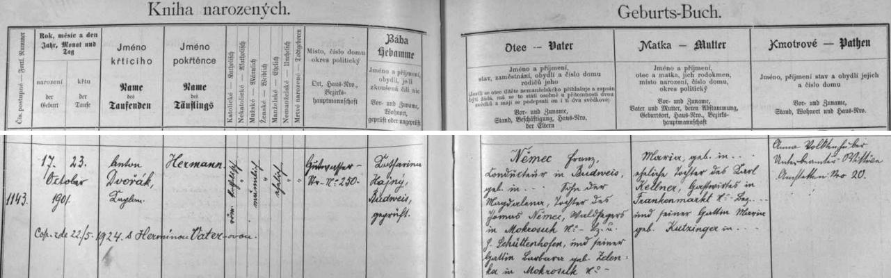 Záznam o narození a křtu jeho otce v českobudějovické matrice
