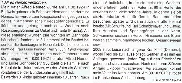 Jeho nekrolog na stránkách krajanského měsíčníku napsala dcera Ulrike