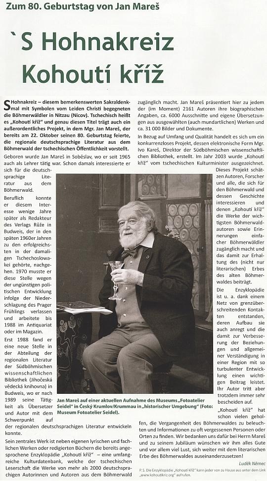 Jeho článek k osmdesátinám Jana Mareše v časopise Der Böhmerwald