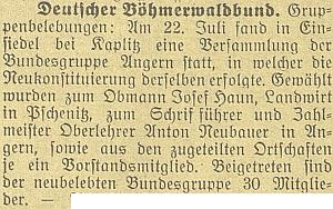 """Zpráva o """"oživení"""" místní skupiny sdružení """"Deutscher Böhmerwaldbund"""" vNažidlech u Kaplice a zvolení Neubauera, tehdy ředitele školy v Bujanově, spolkovým zapisovatelem a jednatelem"""