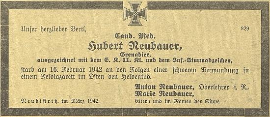 """Jeho syn Hubert, """"kandidát medicíny"""", zemřel v únoru 1942 v polním lazaretu na východní frontě následkem těžkého zranění"""