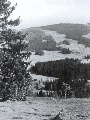 Jedna z těch dvou usedlostí pod budovou školy v Horních Světlých Horách (uprostřed snímku) je to Neubauerovo čp. 55, jak bylo kdysi vidět z bavorské obce Mitterfirmiansreut