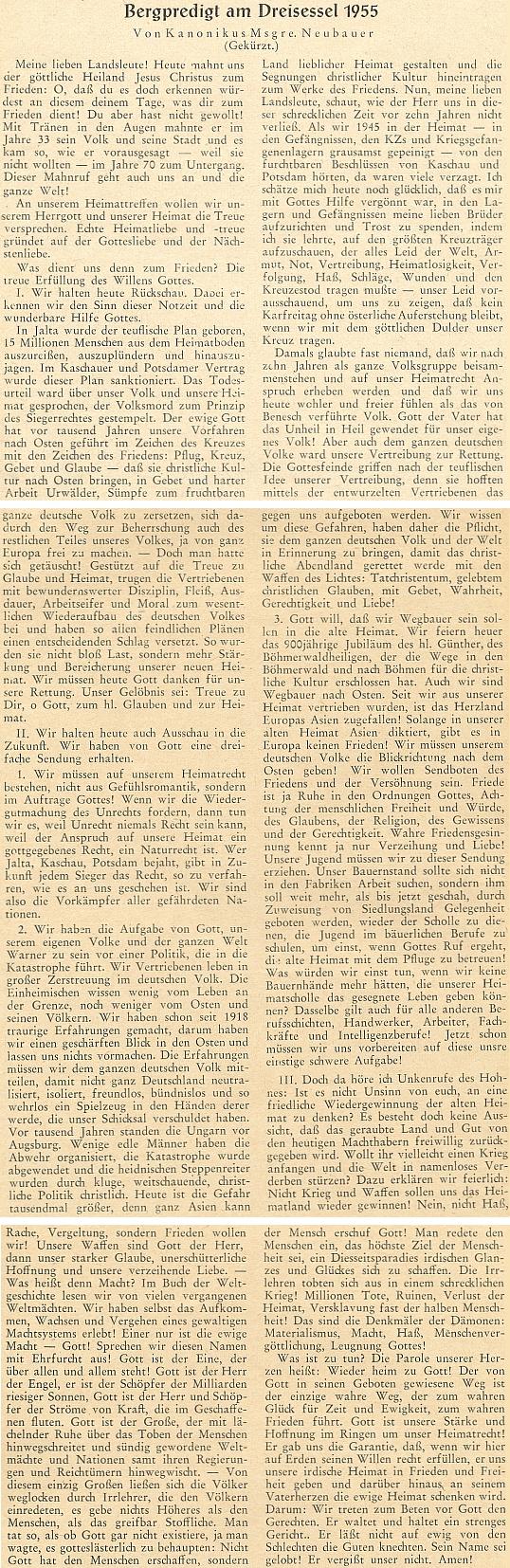 Zkrácený záznam jeho kázání na hoře Třístoličník v roce 1955