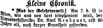 Krátká zpráva o jeho úmrtí v pražském německém listu
