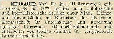 Vazba (1902) vídeňského slovníku umělců a spisovatelů, kde dva roky před jeho smrtí vyšlo i heslo o něm