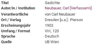 Záznam jeho sbírky básní v katalogu knihovny víděňské univerzity
