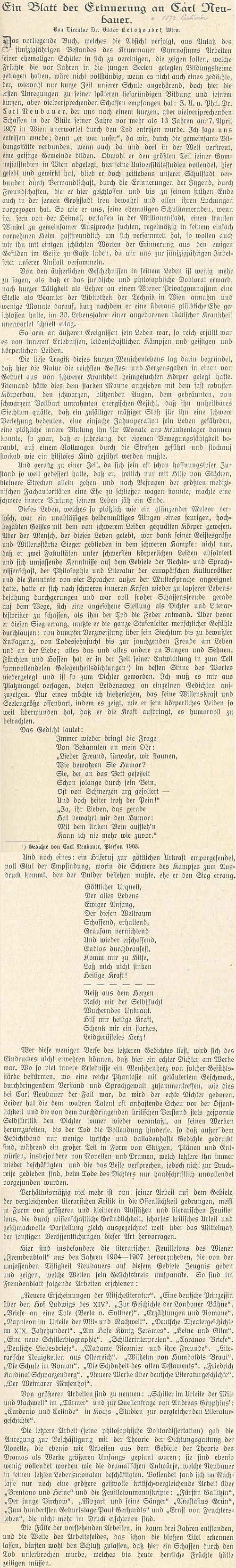 """Celý text """"ředitele Dr. Viktora Belohoubka z Vídně"""" o něm v jubilejním sborníku českokrumlovského gymnázia"""