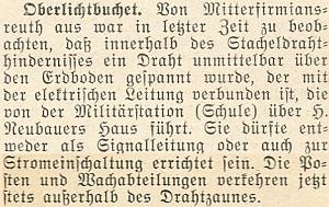 Krajanský měsíčník uvádí v dubnu roku 1954 zprávu o tom, že z bavorské obce Mitterfirmiansreuth lze pozorovat přes hranici v Horních Světlých Horách natahování drátů nízko nad zemí, připojených k elektrickému vedení od bývalé školy, sloužící dnes vojákům, přes Neubauerových stavení
