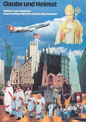 """Obálka (1988) zvláštního čísla """"Glaube und Heimat"""" kpouti vyhnaných německých Šumavanů k hrobu """"jejich"""" světce vUSA - za povšimnutí stojí symbol pětilisté růže na letounu letounu PanAm a také kanovník Franz Irsigler v čele průvodu kněží"""