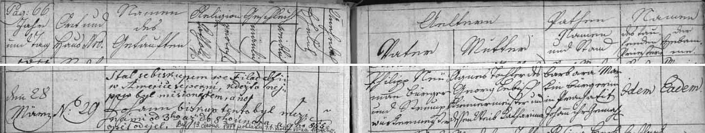 """Německy psaný záznam - matka je tu psána Agnes Lebisch - v prachatické matrice je doplněn cenným českým přípisem o pobytu Neumannově ve městě """"mezi námi"""" v únoru roku 1855 a pozdějším pak svatořečení z června 1977"""