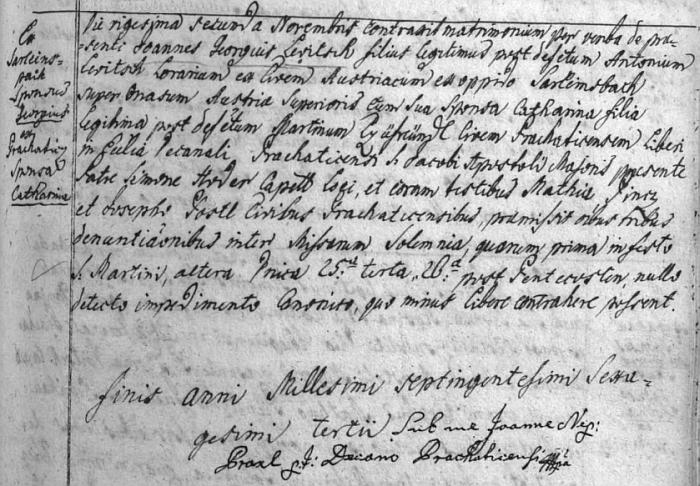Záznam prachatické oodací matriky o svatbě jeho prarodičů z matčiny strany 22. listopadu roku 1763