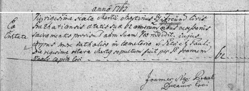 Jeho praděd z matčiny strany Martin Zifreund zemřel v Prachaticích 26. března roku 1763, datum jeho narození ve Chvalšinách však pro tamní požár roku 1808, který strávil i všechny farní matriky z let 1668-1784, nelze doložit