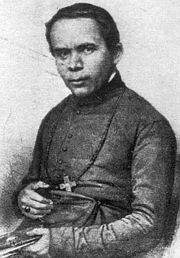 Tato jeho podobizna vznikla na základě jediné dochované fotografie biskupovy (vlevo), pořízené v Mnichově roku 1855