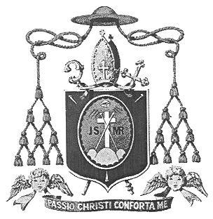 """Biskupský znak s heslem """"Utrpení Kristovo, posiluj mne"""""""
