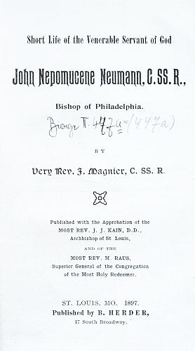 Frontispis a titulní list jeho životopisu, vydaného v St. Louis roku 1897