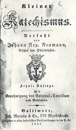 Titulní list desátého vydání jím sestaveného malého katechismu (1853)