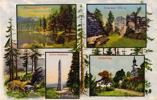 Několik starších pohlednic s motivem Plešného jezera a Stifterova obelisku (nekolorovaná pochází z ateliéru Josefa Seidela, na té dělené pak figuruje i Třístoličník a rakouská už osada Holzschlag)